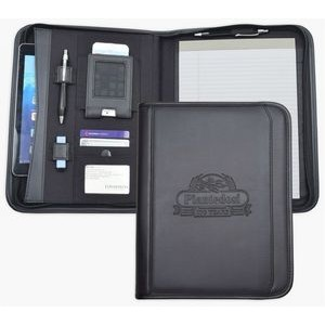 Zippered Letter Size Business Case/Padfolio, iPhone/iPad case, Black soft simulated leather.